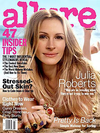 Julia Roberts On The Cover of Allure.  Photo: Allure Magazine