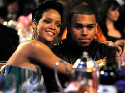Rihanna & Chris Brown Earlier The Night Of The Beating.  Photo: Kevin Mazur/Getty Images