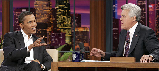 "Barack Obama on ""The Tonight Show with Jay Leno"" / photo: NBC"