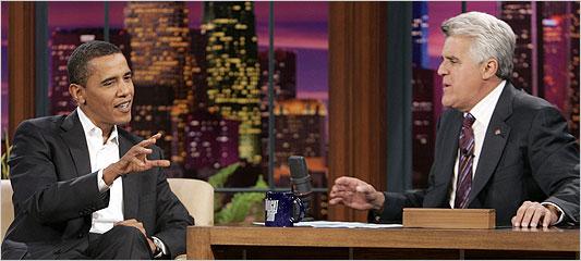"""Barack Obama on """"The Tonight Show with Jay Leno"""" / photo: NBC"""