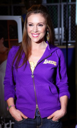 Alyssa Milano Sportin' The Lakers.  Photo: Gettyimages.com