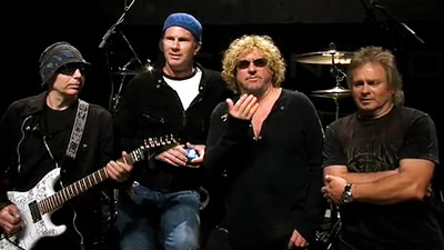 Chickenfoot; Joe Satriani, Chad Smith, Sammy Hagar & Mark Anthony.  File Photo