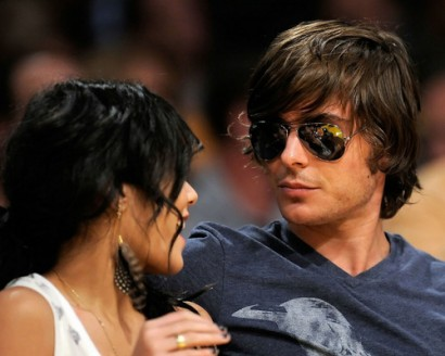 Zac Efron &amp; Vanessa Hudgens Take In Laker Game.  Photo: Gettyimages.com