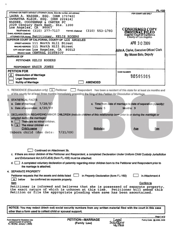 Divorce Papers Filed By Kelis.  Provided By Vibe Magazine