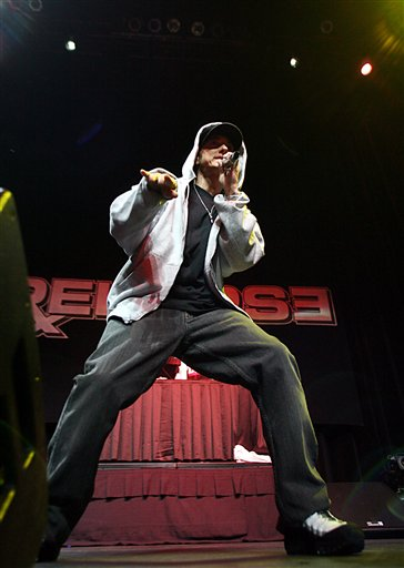 Eminem Rocks Motor City.  Photo: AP Photo/Gary Malerba