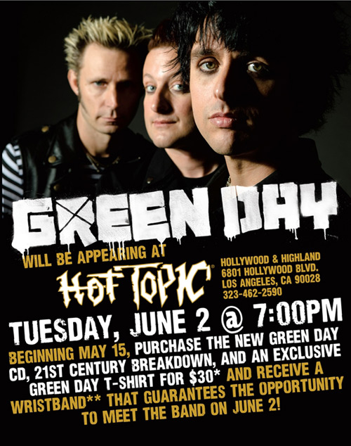 Green Day @ Hot Topic.  Promotional Photo: Warner Bros. & Hot Topic