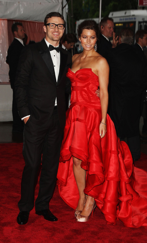 Justin Timberlake &amp; Jessica Beil At The Met.  Photo: Wireimage.com