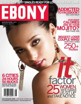 Alicia Keys On The Cover Of Ebony.  Photo: EbonyJet.com