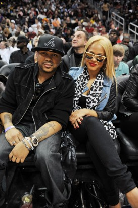 The Dream & Christina Milian Take In A Game.  File Photo