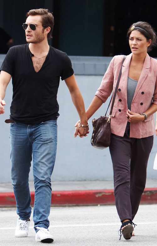 Ed Westwick & Jessica Szohr In Los Angeles.  Photo: Bauergriffen.com