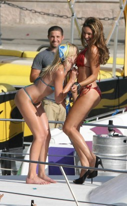 Riley Steele Checking Kelly Brook Out.  Photo: Jeff Steinberg/INFphoto.com