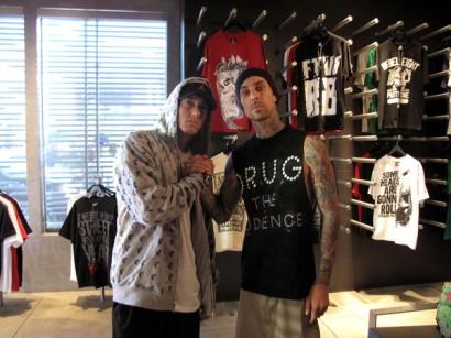 Eminem & Travis Barker Hanging At Fast Life.  Photo Via Travis Barker's Twitter Page