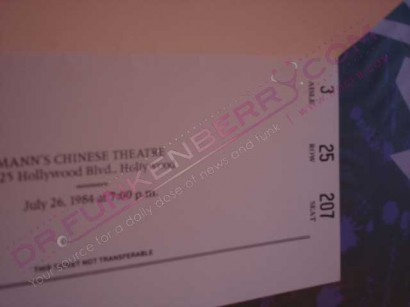 Purple Rain Premeire Ticket Inside. Image Provided By Dr.Funkenberry