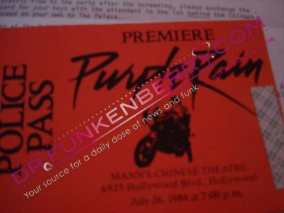 Purple Rain Premiere Police Parking Pass. Image Provided By Dr.Funkenberry