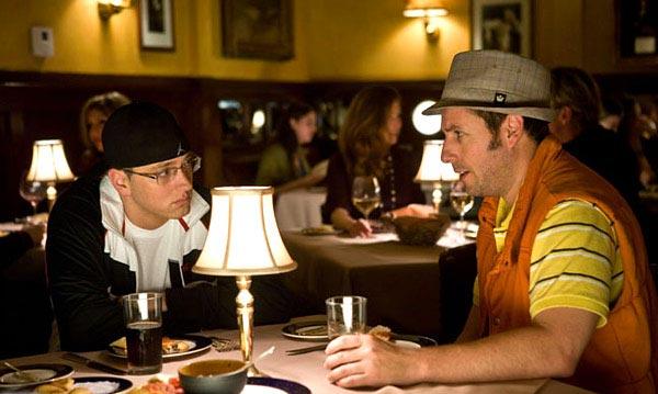 "Eminem & Adam Sandler On Set Of ""Funny People""  Photo: Columbia/Universal"