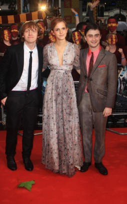 Rupert Grint, Emma Watson, & Daniel Radcliffe At Premiere. Photo: GettyImages.com