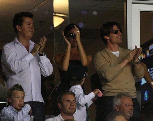 Tom Cruise & Victoria Beckham Cheer On David & The Galaxy.  Photo: SplashNewsOnline.com