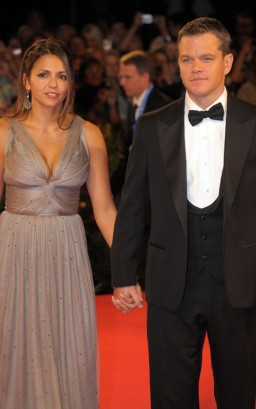 Matt Damon &amp; Luciana Bozn Barroso In Venice. Photo: FlyNetOnline.com