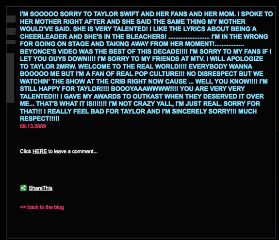 Screen Shot of Kanye's Apology. Photo: KanyeWest.com