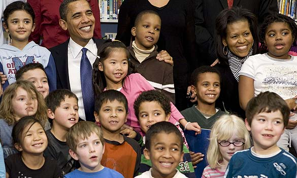 President Obama & School Children. File Photo