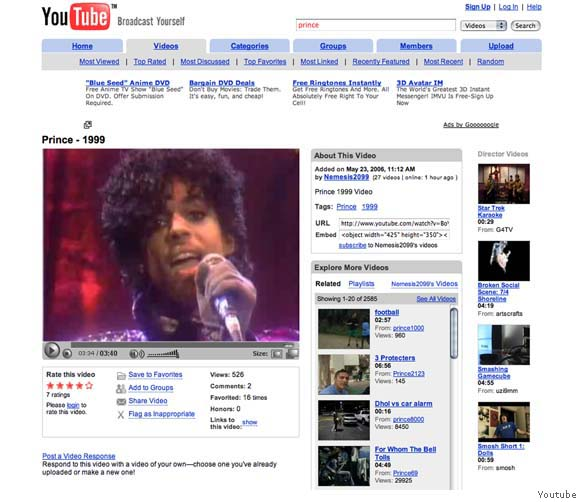 Prince on YouTube.  Photo: SFgate.com