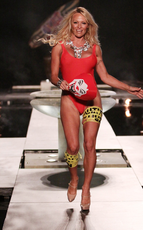 Pamela Anderson At Fashion Show. Photo: SplashNewsOnline.com