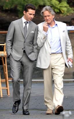 Shia LeBeouf & Michael Douglas On The Set Of Wall Street 2.  Photo: SplashNewsOnline.com