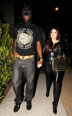 Lamar Odom &amp; Khloe Kardashin As Batman &amp; Catwoman. Photo: PacificCoastNewsOnline.com