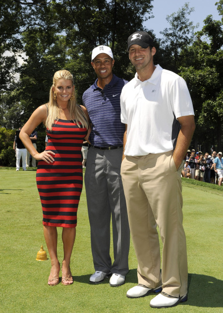 Jessica Simpson, Tiger Woods, & Tony Romo.  File Photo