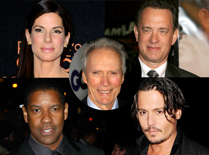 Harris Poll winners - Sandra Bullock, Tom Hanks, Denzel Washington, Johnny Depp, Clint Eastwood