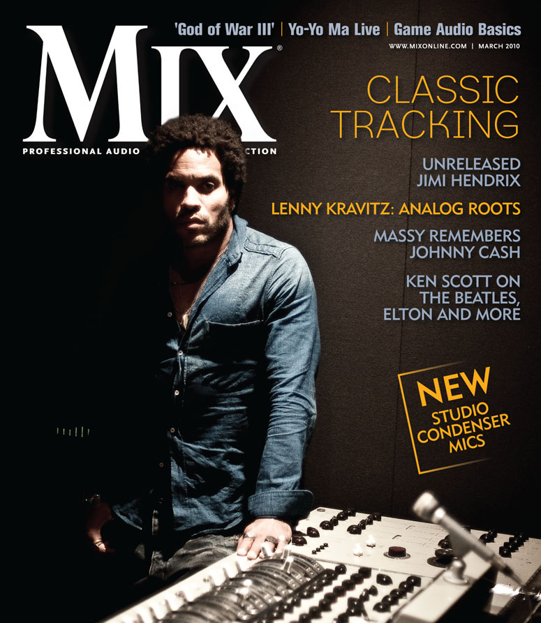 Lenny Kravitz on the cover of Mix Magazine, March 2010