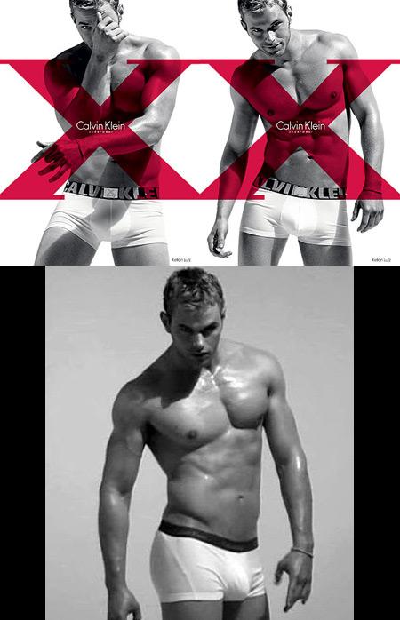 Kellen Lutz posing for Calvin Klein X underwear