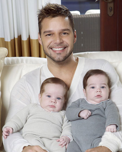 Ricky Martin with his twin sons, born in August 2008