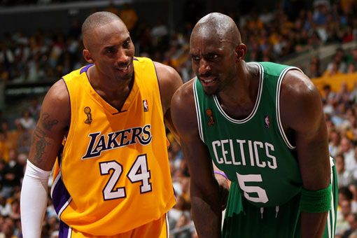 Kobe Bryant & Kevin Garnett. Photo: Jesse D. Garrabrant/NBAE/Getty Images