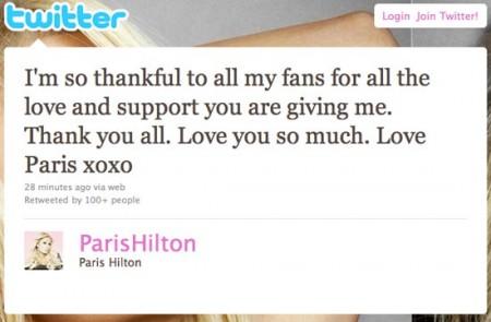 Paris Hilton's Twitter. Image: Twitter.com