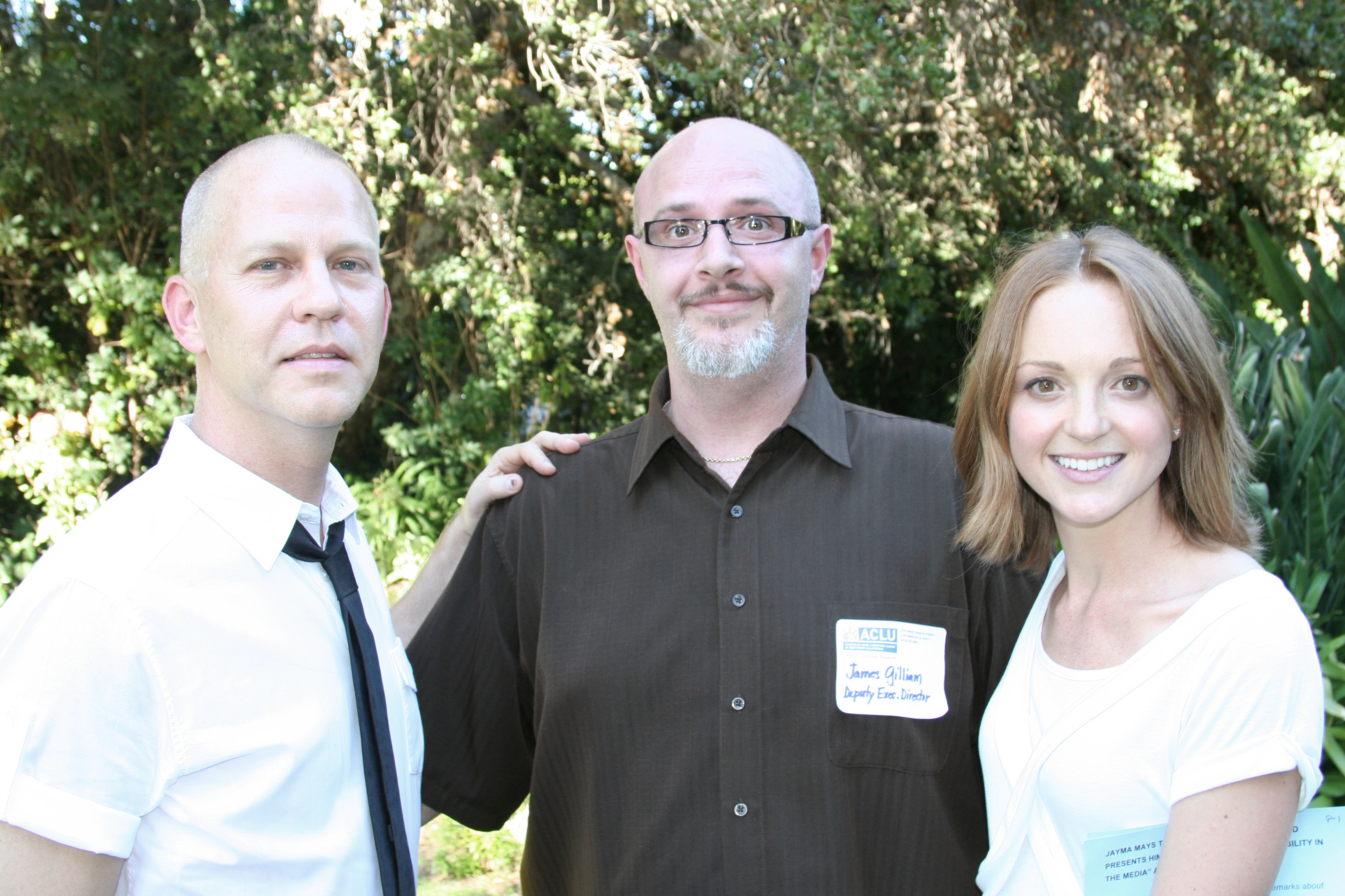 Ryan Murphy James Gilliam Jayma Mays Photo: ACLU Garden Party