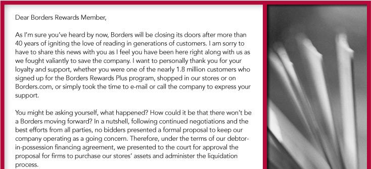 Borders Good-Bye Letter. Photo: Borders.com