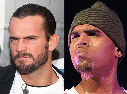 CM Punk & Chris Brown.  File Photos