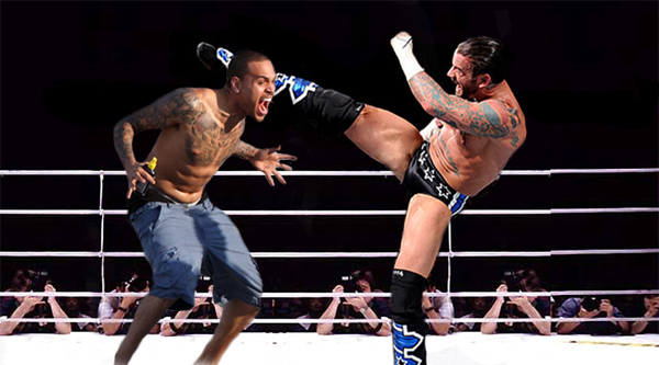 Chris Brown Versus CM Punk. Photo: Nerdreactor.com