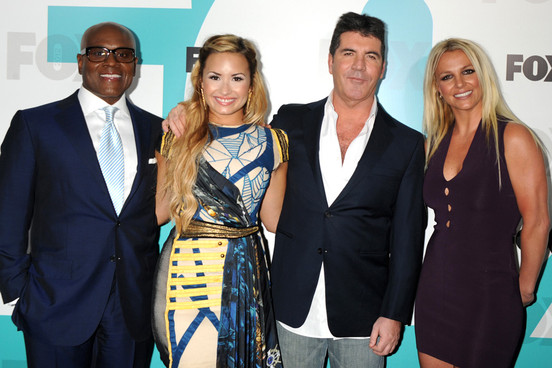 L.A. Reid, Demi Lovato, Simon Cowell, & Britney Spears. Photo: GettyImages.com