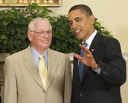 Neil Armstrong & President Obama.  AP Photo