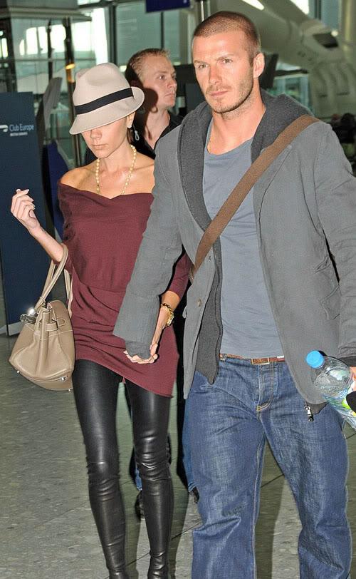 David & Victoria Beckham At Heathrow Airport.  Photo: INFdaily.com