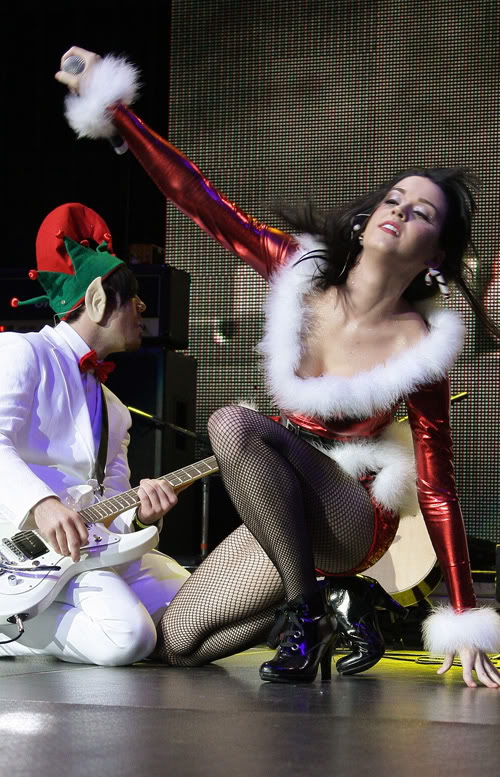 Katy Perry & One Of Her Elfs Perform For KIIS FM.  Photo: Wireimage.com