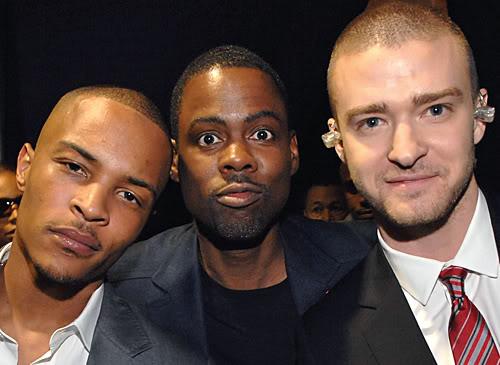 T.I., Chris Rock, & Justin Timberlake..Of Wax. Photo: MTV.com