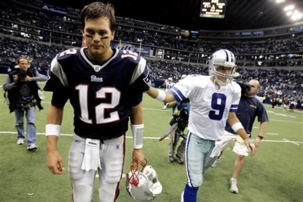 One Has 3 Super Bowl Rings & The Other Has Jessica Simpson.  Photo: CBSSports.com