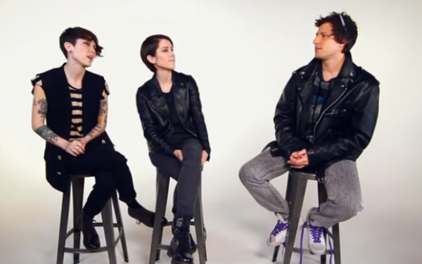 Tegan &amp; Sara &amp; Andy Samburg.  Photo: Warner Music