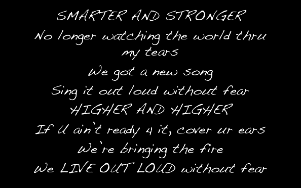 Live Out Loud Lyrics Photo:  Hannah Ford Facebook Fan Page