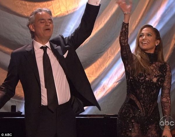 Andrea Bocelli & Jennifer Lopez Photo: ABC.com