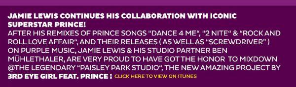 Jamie Lewis Purple Music PRINCE 3rdEyeGirl Announcement