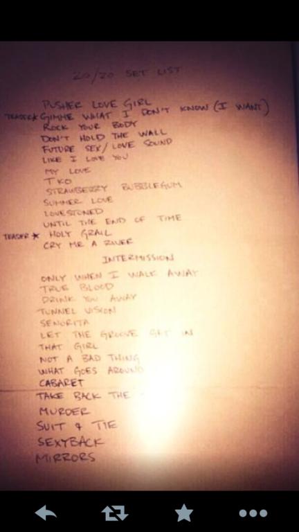 Justin Timberlake 20/20 Experience Set List